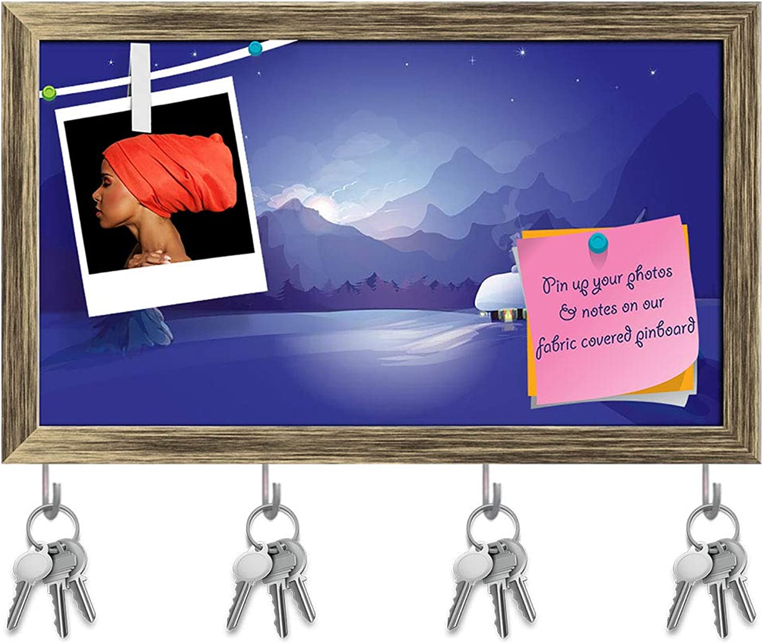 Artzfolio Winter Landscape D7 Key Holder Hooks   Notice Pin Board   Antique golden Frame 17 X 10Inch