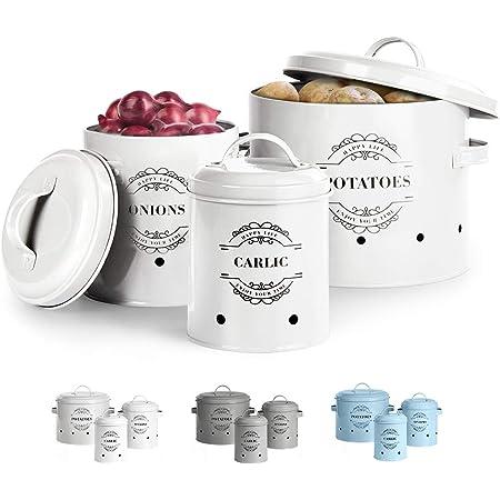 Virklyee® Paniers Ail Pot à Oignon en Métal Set of 3-Pot de pomme de terre, pot d'oignon, pot d'ail, Pots et bocaux de conservation Rangement en métal Conception aérée pour un rangement facile (Blanc)