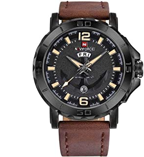 Naviforce Men's Black Dial PU Leather Analogue Classic Watch - NF9122-BYDBN