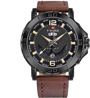 ساعة انالوج كلاسيكية بمينا اسود وسوار من جلد البولي يوريثين للرجال من نافي فورس NF9122-BYDBN