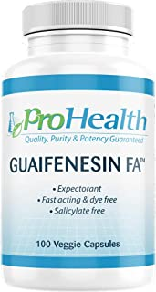 ProHealth Guaifenesin FA (400mg - 100 Veggie Capsules) | Fast Acting | Immediate Release Expectorant | Helps Loosen Mucus | Relieves Chest Congestion