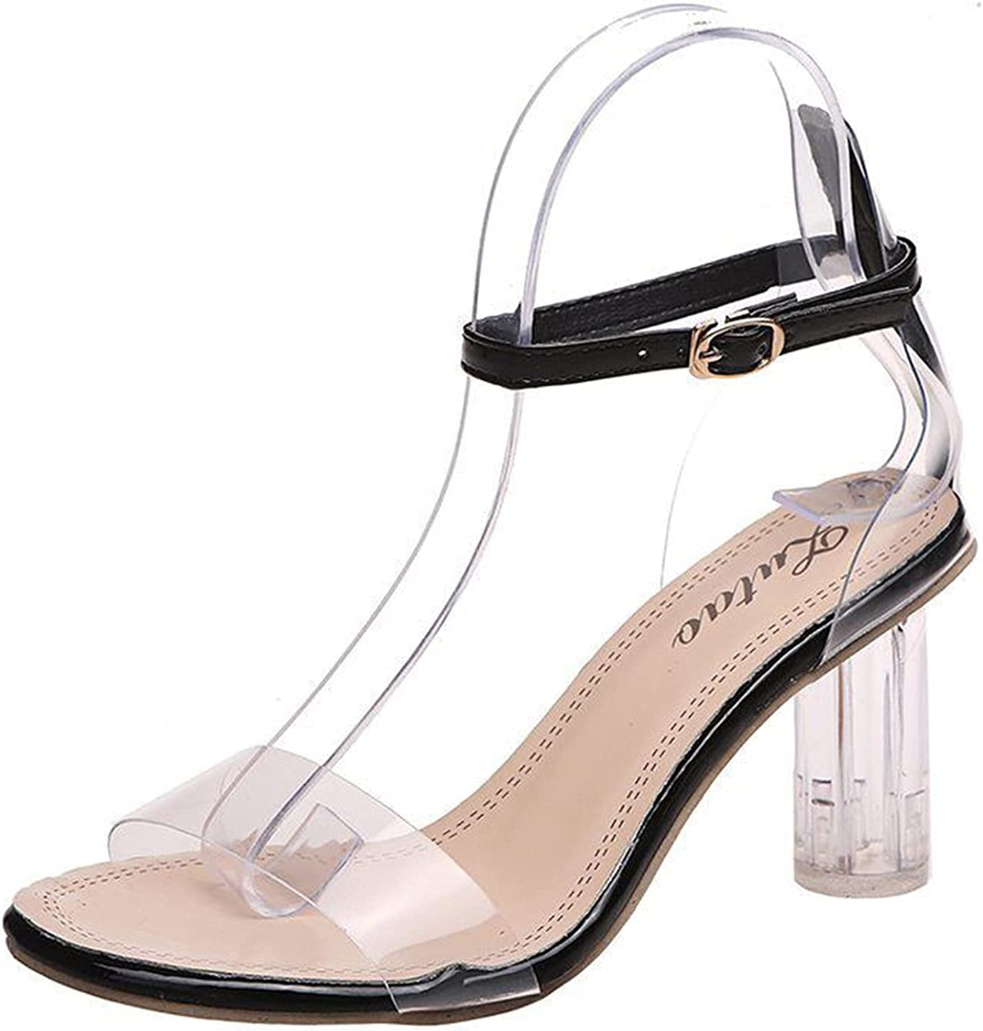 Gyouanime Transparent high Heels Dressy Heel Boston Mall Open Chunky Manufacturer direct delivery Wed Toe