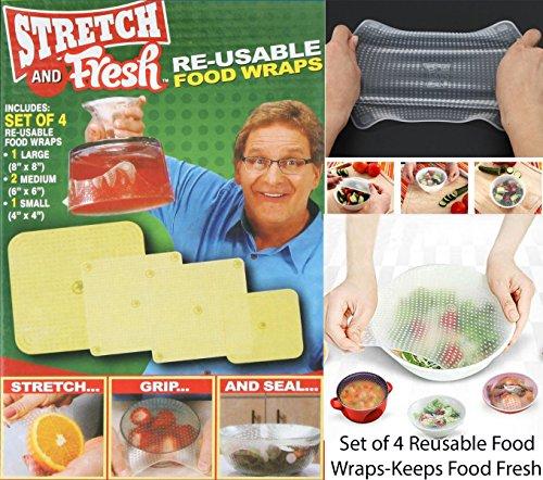 Stretch & Fresh Lot de 4 emballages alimentaires réutilisables pour le stockage des aliments et lot de 5 spatules à pâtisserie