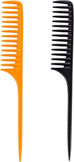 Louise Maelys 2pcs Wide Tooth Tail Comb for Curly Hair Styling Detangle Hair Combs Black and Yellow