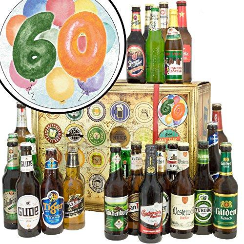 60. Geburtstag/Bier Geschenk Welt und DE / 60ster Geburtstag Geschenke/Weihnachtskalender für Ihn Bier