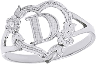 CaliRoseJewelry Silver Initial Alphabet Personalized Heart Ring - Letter D