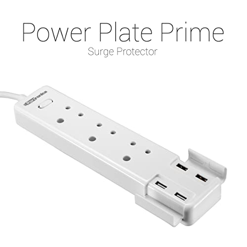 Portronics POR-670(White) Power Plate Prime Three 5A electrical universal sockets and 4 USB ports & Surge