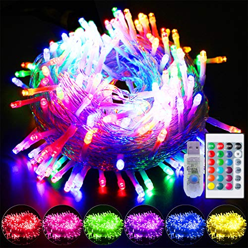 YAOZHOU Color Change String Lights 16 Color Change Fairy Lights,42.6Ft 100LED RGB Decorative Lights, 4 Modes and Speed Control with Remote,USB Charge Xmas Lights with 5V Safe Voltage