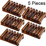 Bathroom Wooden Soap Case Holder Home Hand Craft Natural Wood Dish Holder for Soap Sponge Scrubber, 5 Pieces (Charcoal)