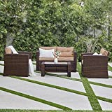 BELLEZE 4pc Wicker Outdoor Deep Seating Patio Set Furniture Cushioned Seats UV Water Resistant with Table, Brown