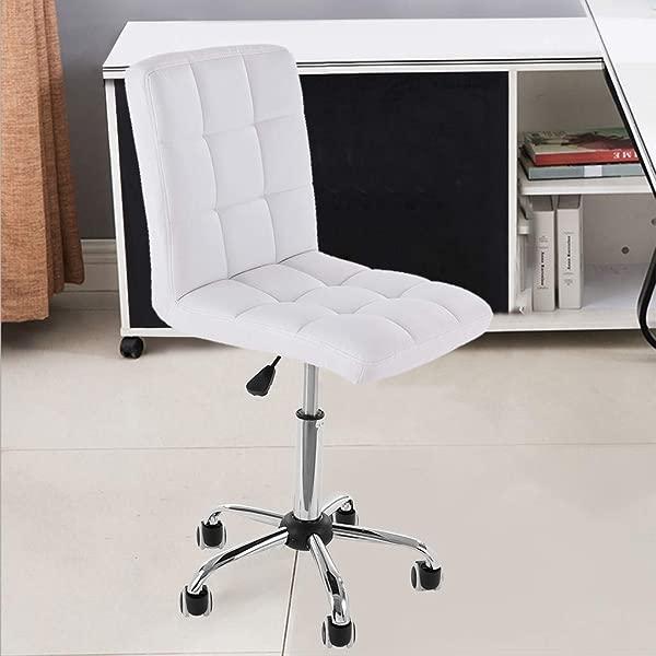 美国快速出货 Quaanti 家用独特的豪华家用办公无臂高度可调节 360 度旋转可调节低背斗笠办公工作椅白色