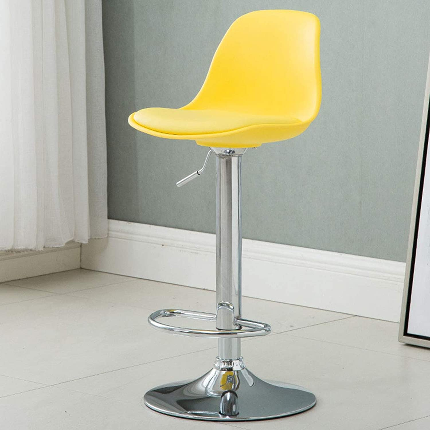 Stools Bar Chair Yellow Modern Breakfast Kitchen Chair Stool with Backrest Swivel Chair Adjustable 60CM-80CM (color    2)