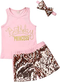 3 Style Baby Girl Gold Letter Print Sleeveless Vest +Gold Sequins Shorts Pants Outfit Set +Bowknot Headband