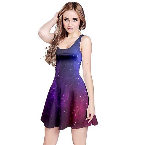 Galaxies Meeting Flared Maxi Dress