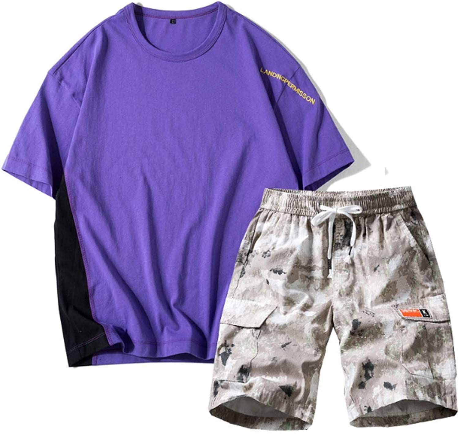 Two-Piece Men's Casual Wear Sports and Leisure Suits Cotton Sportswear Casual Short-Sleeved + Shorts