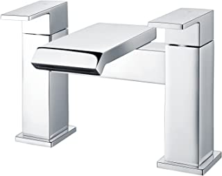 Funime Square Bath Taps Waterfall Bathroom Tub Taps Chrome Brass Dual Lever