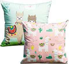 DreamJ 2Pcs Alpaca Pillow Covers,1818in Super Soft and Cute Llama Square Pillow Cases Decorative for Cushion Cover Home, Sofa and Car (Pink+Light Green)