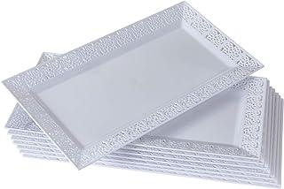 Silver Spoons White Trays BANDEJAS DE ENCAJE DESECHABLES | Para bodas y cenas de lujo | 6 unidades | Blanco | 14 x 7,5 pulgadas (35 x 19 cm), Plastic