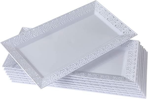 DISPOSABLE LACE TRAYS For Upscale Wedding And Dining 6 Pc White 14 X 7 5