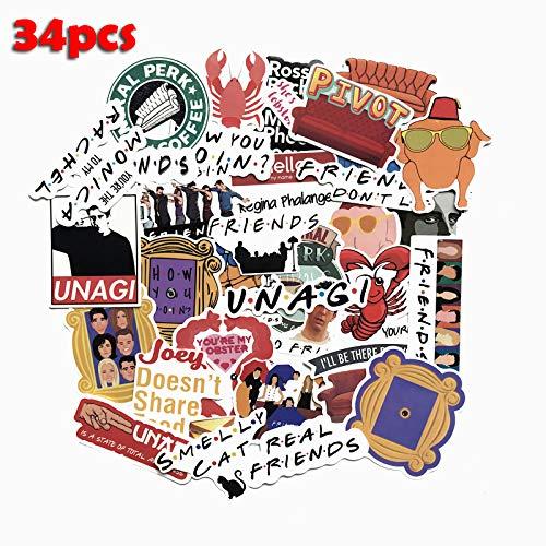 American Tv Friends Sticker Grappige Slogan Sticker Voor Laptop Auto Skateboard Bike Koelkast Gitaar Klassieke Stickers 34 Stks/partij