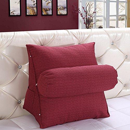 Kenmont Bücherkissen-Rückenkissen-Lendenkissen-Fernsehkissen Plüsch Kissen für Auto, Bett, Lesen, Büro-Stuhl und Sofa (Large, Wein)