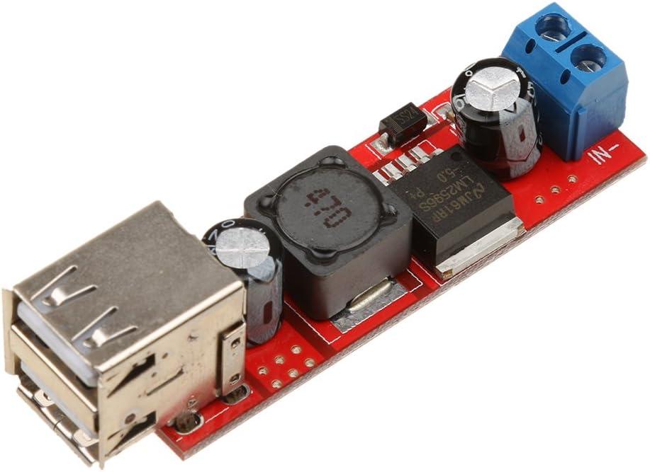 Almencla USB DC-DC Step-Down Converter Module for Vehicle Charger, Power Bank, Phones (9V/12V/24V/36V to 5V)
