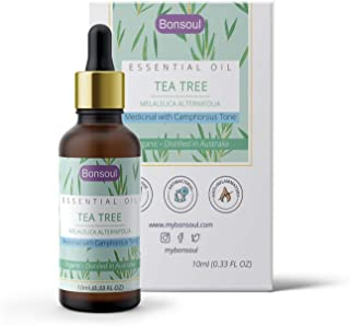 BONSOUL Tea Tree Essential Oil For Skin, Hair, Face, Acne Care, 100% Pure Organic, Natural And Undiluted Therapeutic Grade...