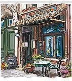 /N Stadt Dusche Vorhang Straße Paris Cafe Essen Druck für Badezimmer