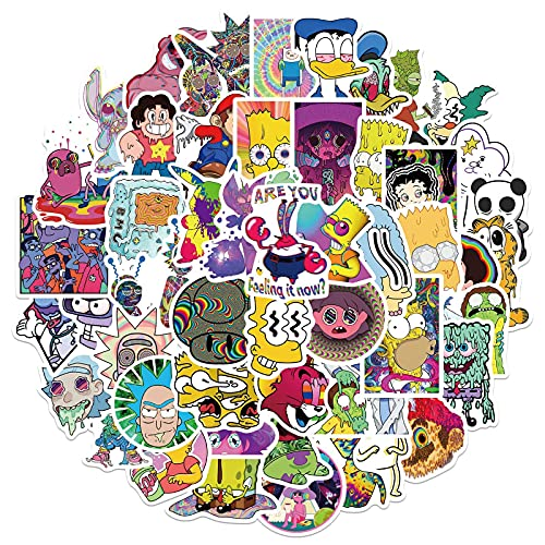 52 PCS Stoner Psychedelic Cartoon Character Stickers,Cool Anime Trippy Stickers,Vinyl Waterproof Stickers for Laptop,Water Bottles,Luggage,Computer,Cellphone,Skateboard,Guitar