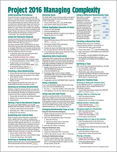 Microsoft Project 2016 Quick Reference Guide Managing Complexity - Windows Version (Cheat Sheet of Instructions, Tips & Shortcuts - Laminated Card)