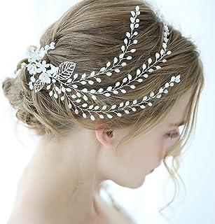 FXmimior - Tiara per capelli da sposa con perle argentate e strass, accessorio per capelli da sera