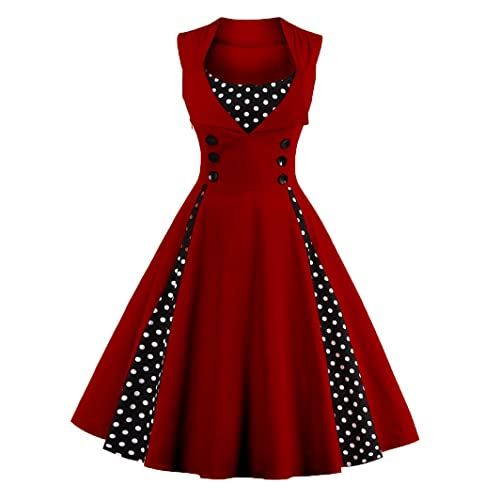 9880763ff70c LunaJany Women s Rockabilly Vintage Polka Dot Fit and Flare Swing Cocktail  Dress