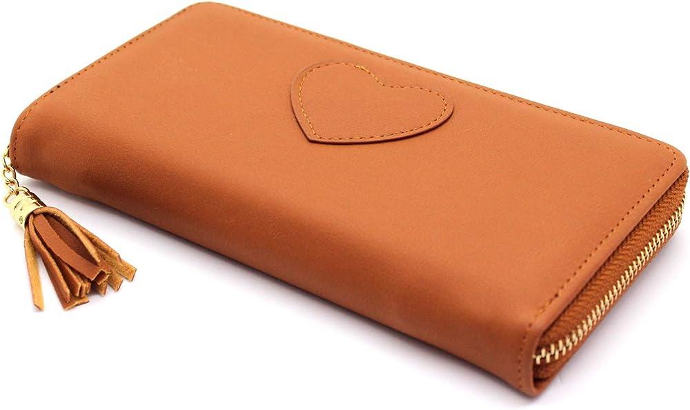 Portafoglio da donna con cerniera zip con porta carte di credito in pelle sintetica cuoio
