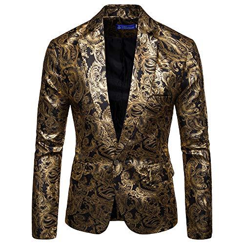 Zarupeng Mannen Gouden bedrukt pak Revers Slim Fit Stijlvolle blazer jas mantel