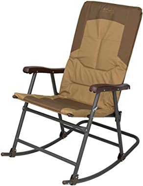 BS Foldable Rocking Chair Outdoor Camping Patio Back Deck Poolside Lounge Recliner Seat Steel Frame Easy Storage Transportati