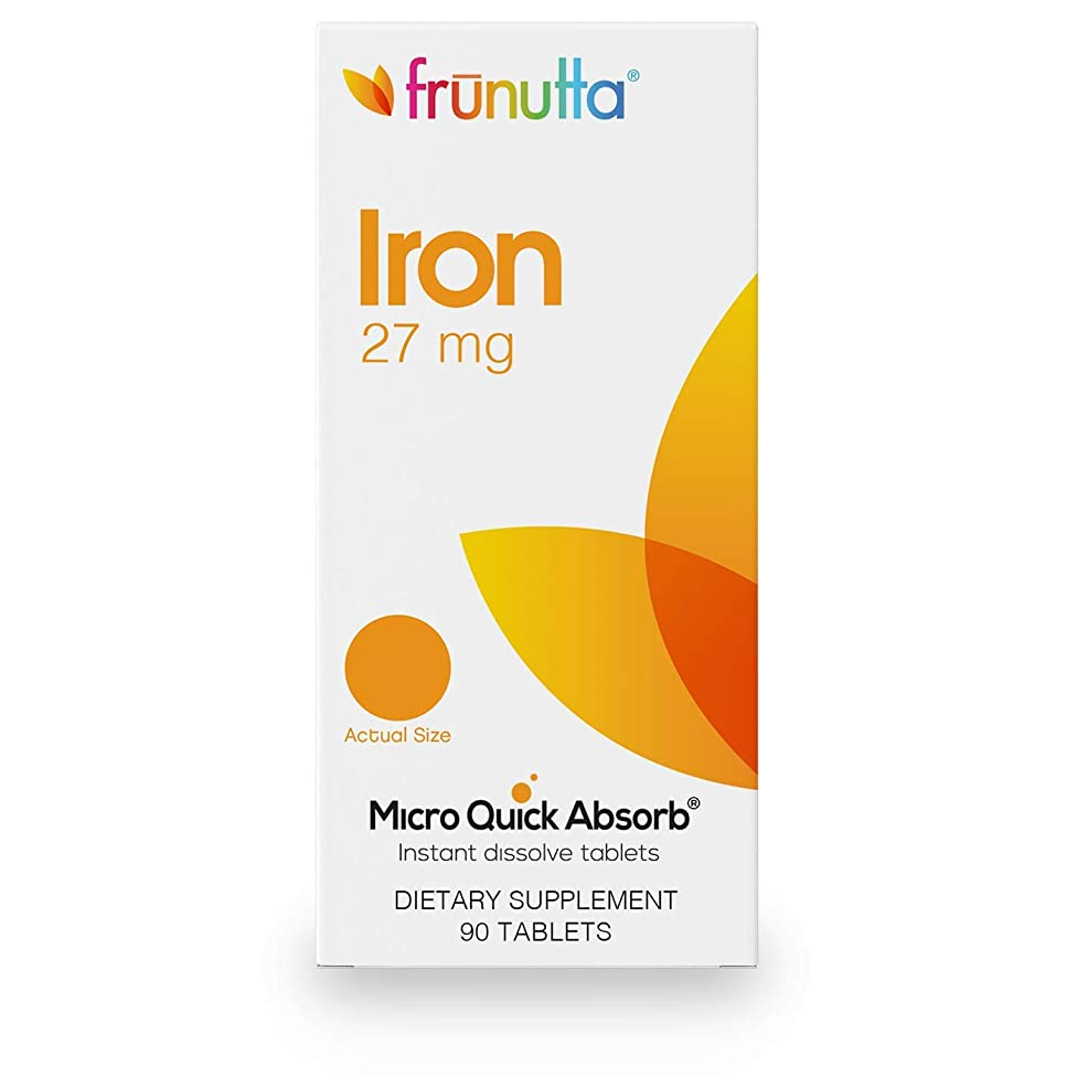 Frunutta Iron 27 mg, Under The Tongue Instant Dissolve Tablets, 3 Month Supply, Proudly Made in USA