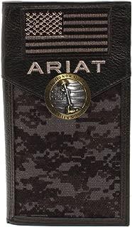 Custom Fallen Soldiers and American Flag Ariat Black Digital Camo long wallet