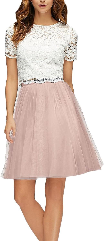 AK Beauty Women's Two Piece Lace Top ALine Bridesmaid Dresses