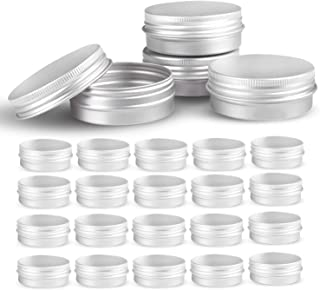 Round Silver Aluminum Metal Tin Storage Jar Containers with Secure Screw Top Lids for Cosmetic, Lip Balm,DIY Salves, Candl...