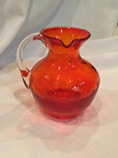 Vintage Small Kanawha Glass Company Red/Orange Crackled Glass Small Pitcher (3.5
