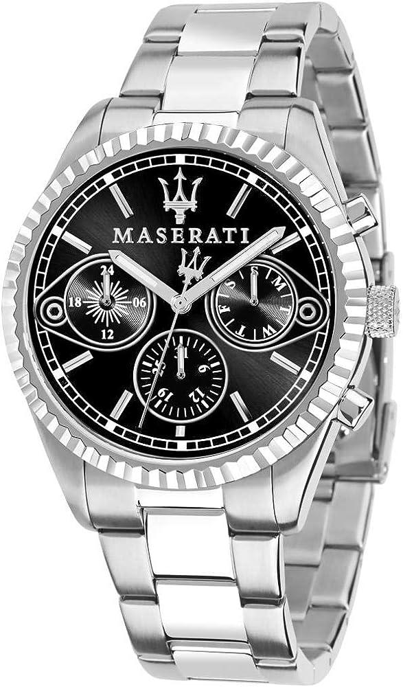 Maserati orologio da uomo, collezione competizione multifunzione, in acciaio 8033288853398