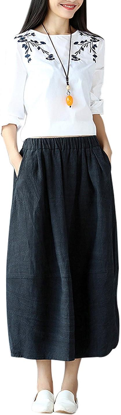 Jenkoon Women's Summer Casual Retro Plus Size Linen Elastic Waist Lantern Midi Skirt