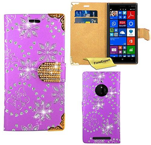 FoneExpert® Nokia Lumia 830 Hülle, Bling Diamant Hülle Wallet Hülle Cover Hüllen Etui Ledertasche Premium Lederhülle Schutzhülle für Nokia Lumia 830 + Bildschirmschutzfolie (Lila)