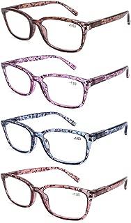 DOOViC 4 Pack Computer Reading Glasses Blue Light Blocking Anti Eyestrain Spring Hinge Stylish Readers for Women 2.50 Strength