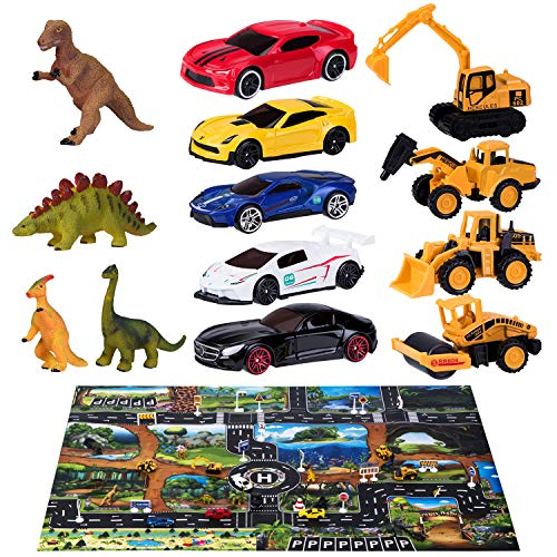 Joyjoz Coche de Juguete 40 PCS, 12 Dinosaurios Juguetes, 5 Autos de Carreras, 4 Coches de Construcción, 18 Señales de Tráfico de Bricolaje, Tapete de Juego Grande (1 * 1.3M), Regalo para Niños