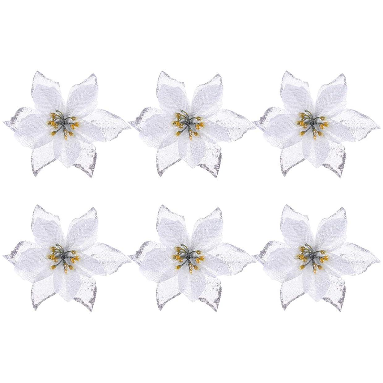 変形エンコミウムプライムLEDMOMO クリスマス 花 飾り 結婚式 銀 クリスマスツリー 花 装飾品 模造花 6本