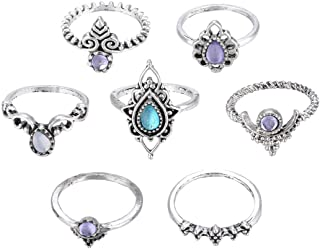 Sengufeng Bohemian Vintage Crystal Ring Set Turquoise Joint Knuckle Finger Stacking Rings Sets Jewelry