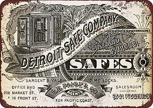 Cartel de metal divertido con aspecto vintage de 1884 Detroit Safe Company Store Sign de aluminio para garaje interior y Ou Metal Tin Sign 8 x 12 pulgadas
