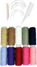 dailymall 10 Spools Cotton General Sewing Threads & 14Pc Yarn Darning Tapestry Needles