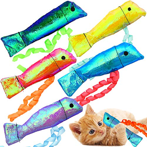 Youngever 15 Pack Crinkle Catnip Cat Toys, Cat Interactive Toys, Catnip Kitten Toys, Crinkle Catnip Fish for Cat, Puppy, Kitty, Kitten, 15 Assorted Colors